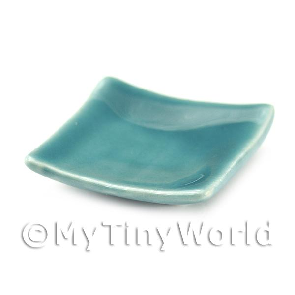 Dolls House Miniature 30mm Aquamarine Square Plate