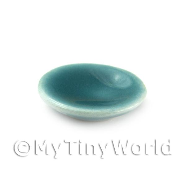 Dolls House Aquamarine 12mm Round Ceramic Plate