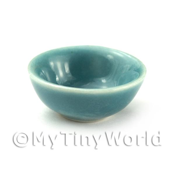 Dolls House Miniature  | Dolls House Miniature Aquamarine 22mm Ceramic Bowl