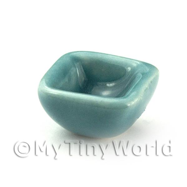 Dolls House Miniature 11mm Aquamarine Square Ceramic Bowl