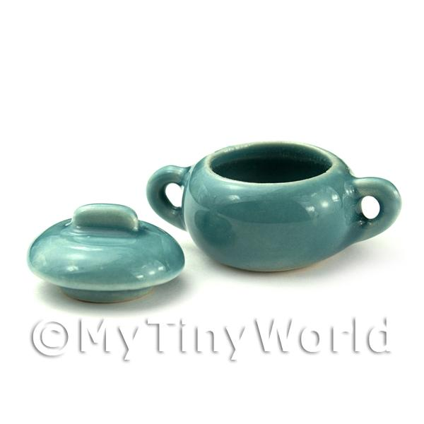 Dolls House Miniature Ceramic Aquamarine Vegetable Serving Dish