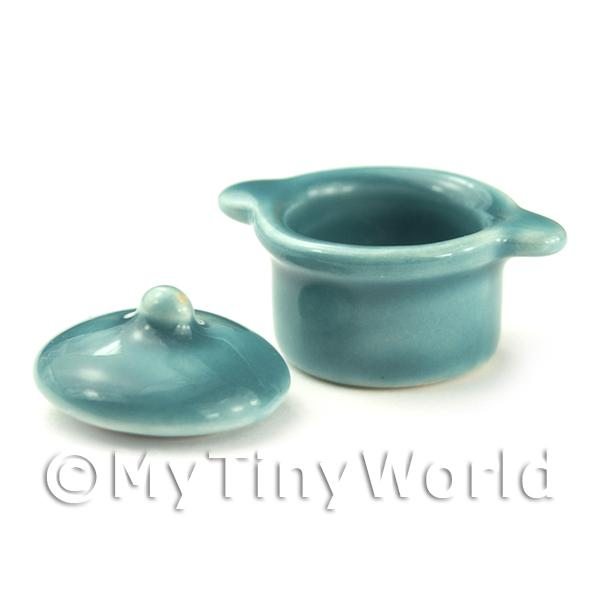Miniature Ceramic Aquamarine Large Casserole Pot