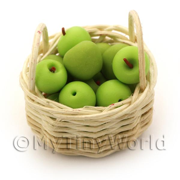 Dolls House Miniature  Basket of Handmade Granny Smith Apples