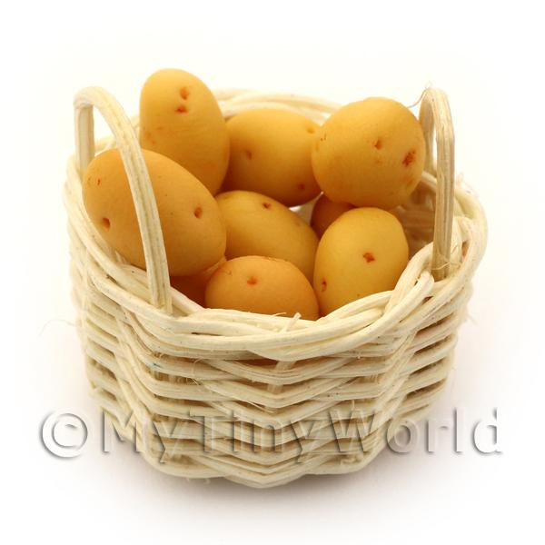 Dolls House Basket of Hand Made Baking Potatoes
