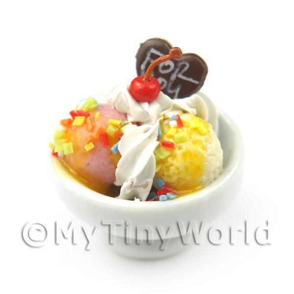 Dolls House Miniature  | Dolls House Miniature Fruit Salad and Ice Cream in a Bowl