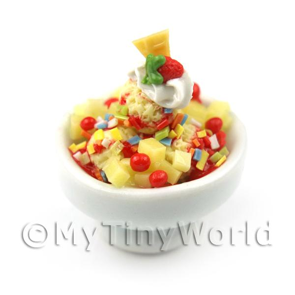 Dolls House Miniature Fruit Salad and Ice Cream in a Bowl
