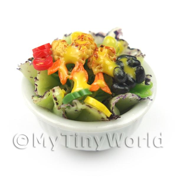 Dolls House Miniature Bowl of Mixed Salad Style 1