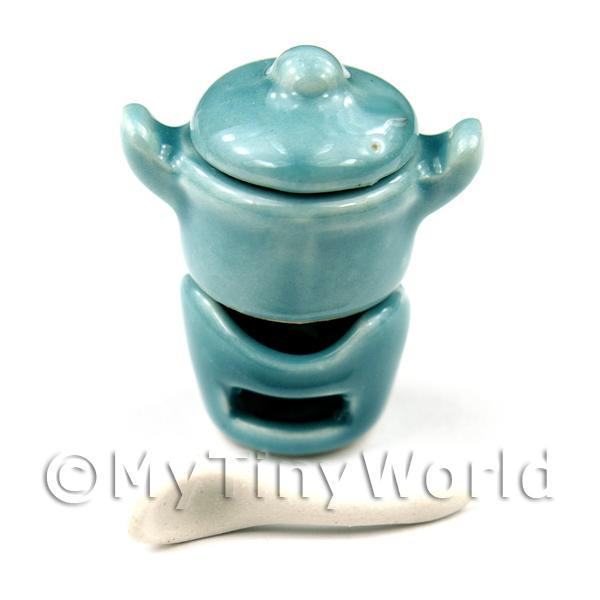 Dolls House Miniature  | Dolls House Miniature Aquamarine Ceramic 4 Piece Fondue Set