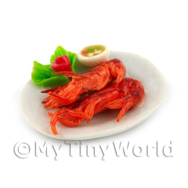 2 Dolls House Miniature Whole Cooked Crevettes with a Chilli Dip
