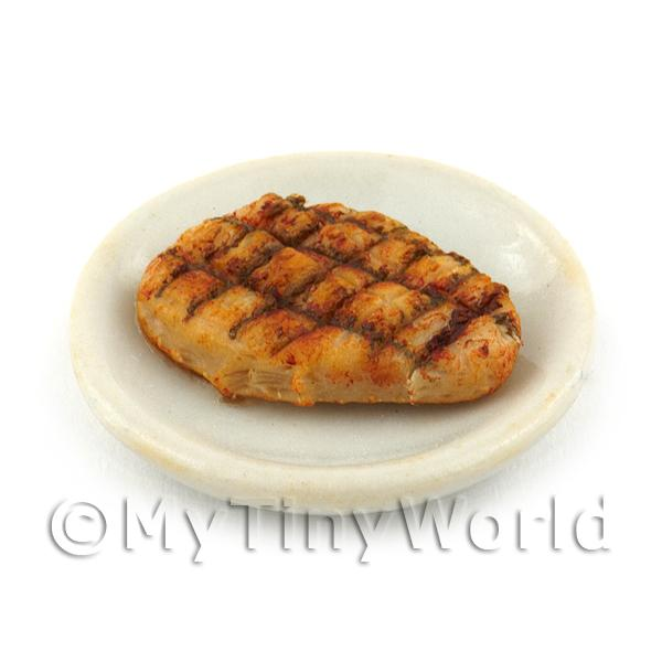 Dolls House Miniature Sirloin Steak on a  White Ceramic Plate