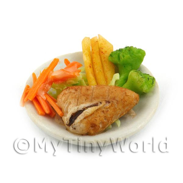 Dolls House Miniature Steak and Vegetables on a  White Ceramic Plate
