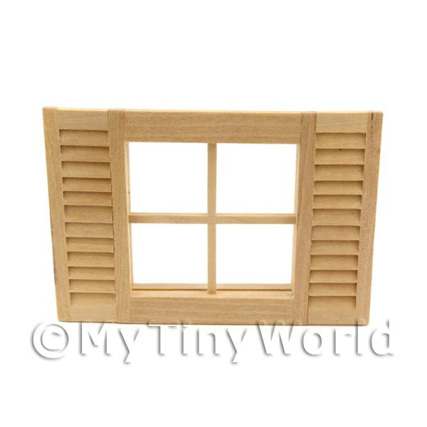 Dolls House Miniature Window with Fixed Shutters
