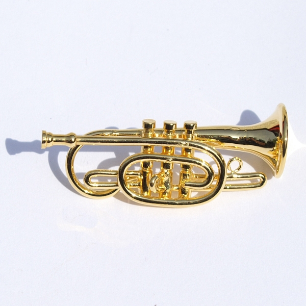 Dolls House Miniature Metal Cornet