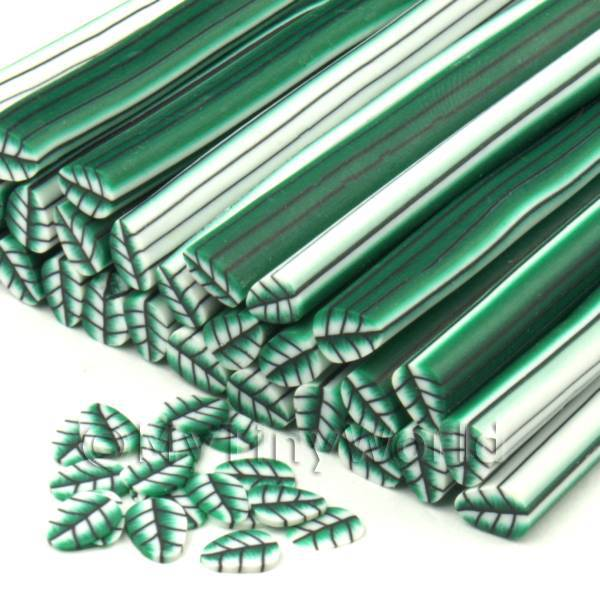 Dolls House Miniature  | Handmade Green Leaf Cane - Nail Art (CNC10)