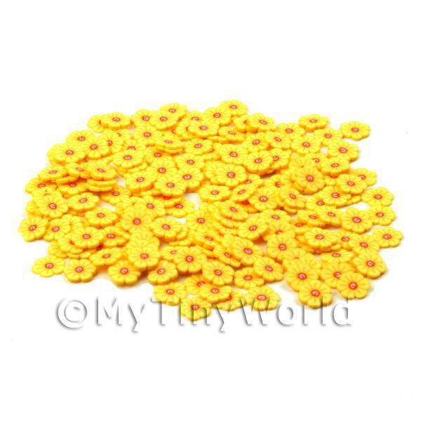 Dolls House Miniature  | 50 Yellow Flower Cane Slices - Nail Art (CNS15)