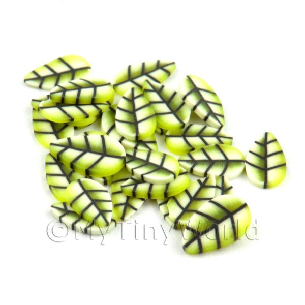 50 Yellow Leaf Cane Slices - Nail Art (CNS21)