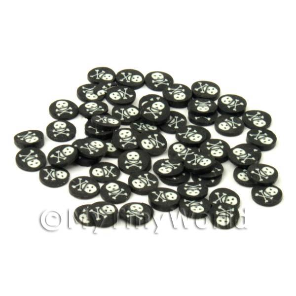 50 Skull and Crossbone Cane Slices - Nail Art (CNS25)