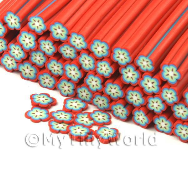 Dolls House Miniature  | Handmade Red and Blue Flower Cane - Nail Art (CNC28)