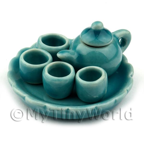 Dolls House Miniature  | Dolls House Handmade Aquamarine Ceramic Tea Set