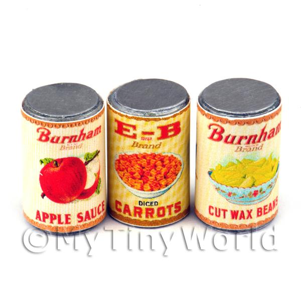 Set Of 3 Dolls House Miniature Burnams Brand Cans (1930s)