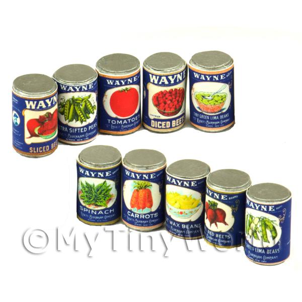 Set Of 10 Assorted Dolls House Miniature Wayne Brand Cans (1930s)