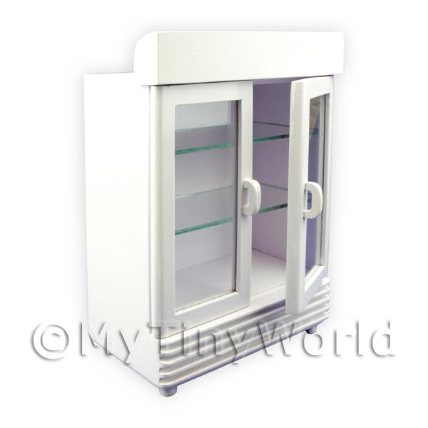 Miniature White Painted Wood 2 Shelf Shop Display Double Fridge