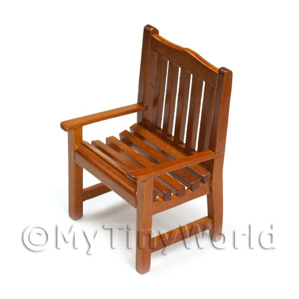 Dolls House Miniature  | Dolls House Miniature Solid Wood Slatted Garden Chair