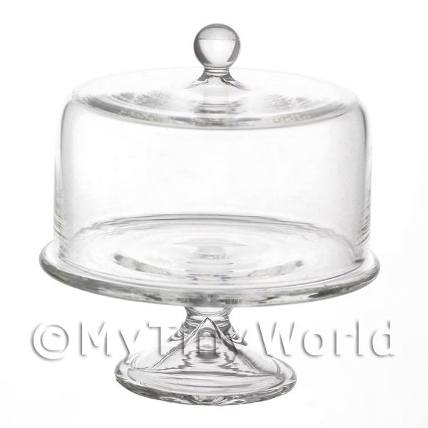 Dolls House Miniature Handmade Glass Rounded Top Cake Stand