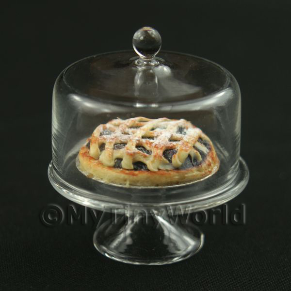Miniature Glass Cake Stand (J) and Open Apple Pie Set