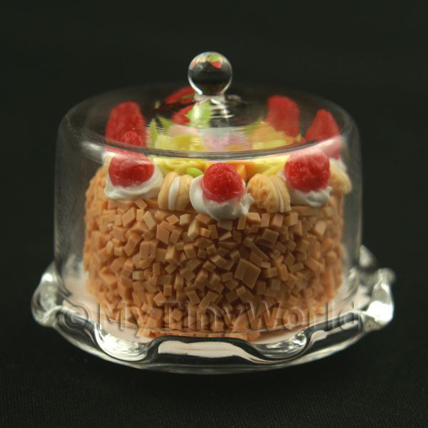 Dolls House Miniature  | Miniature Glass Cake Stand (K) and Strawberry Cake set