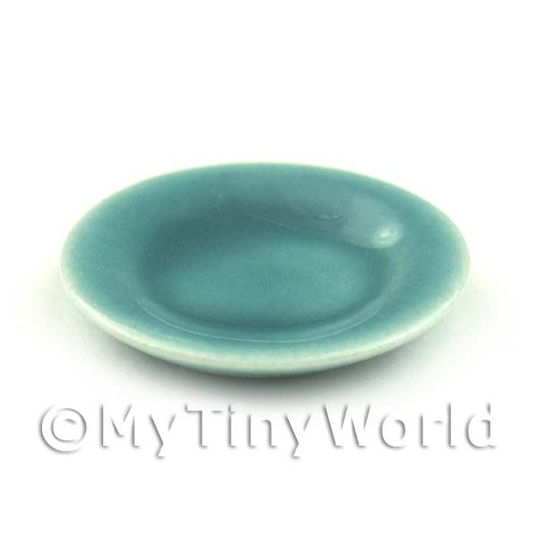 Dolls House Miniature  | Dolls House Miniature 21mm Aquamarine Ceramic Plate