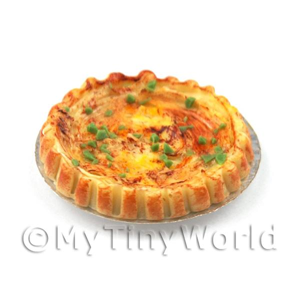 Dolls House Miniature Cheese and Spring Onion Quiche Lorraine