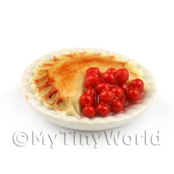 Dolls House Miniature Open Generously Filled Cherry Pie