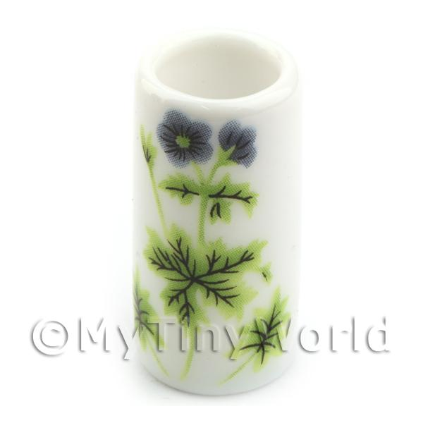 Dolls House Miniature - Miniature Ceramic Umbrella Stand With Green Flower Design