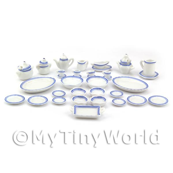 1/12 Scale Dolls House Miniatures  | Dolls House Miniature 40 Piece Blue And White Dinner Service