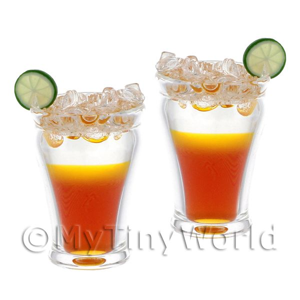 2 Miniature Sun Burst Cocktails served over Ice in Hand Made Glasses