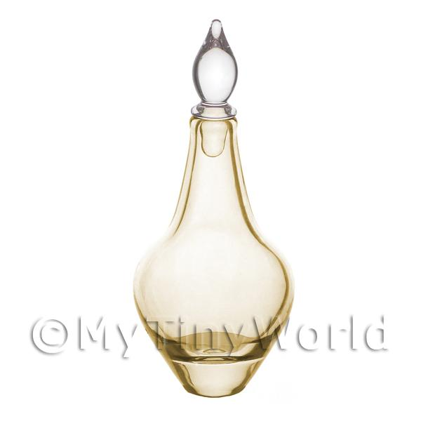 Miniature Handmade Tall Amber Pear Shaped Apothecary Bottle / Decanter