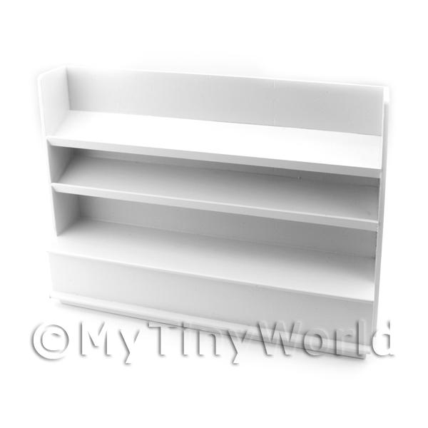 Dolls House Miniature White Painted Wood Shelved Shop Display Unit