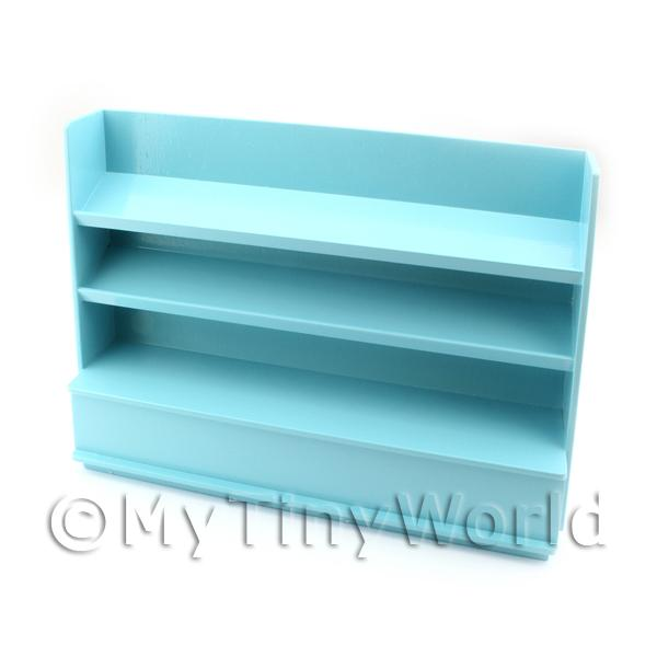 Dolls House Miniature  | Dolls House Miniature Pale Blue Painted Wood Shelved Shop Display Unit