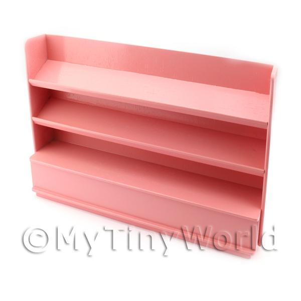 Miniature Dark Pink Painted Wood Shelved Shop Display Unit