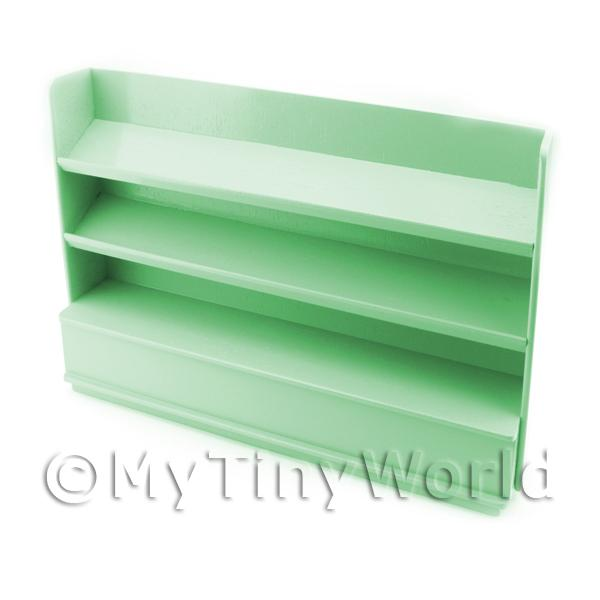 Dolls House Miniature  | Miniature Light Green Painted Wood Shelved Shop Display Unit