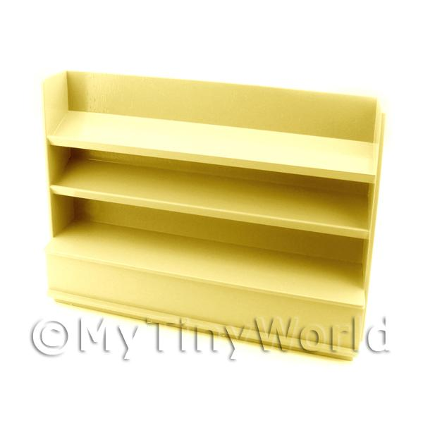 Dolls House Miniature  | Miniature Light Yellow Painted Wood Shelved Shop Display Unit