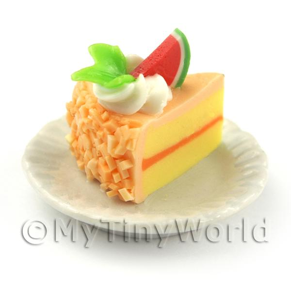 Dolls House Miniature Orange Iced Individual Melon and Cream Cake Slice
