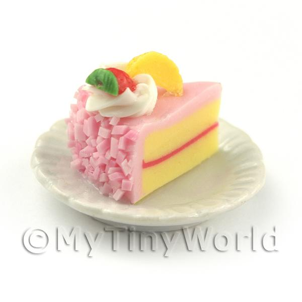Miniature Pink Iced Individual Strawberry and Peach Cake Slice