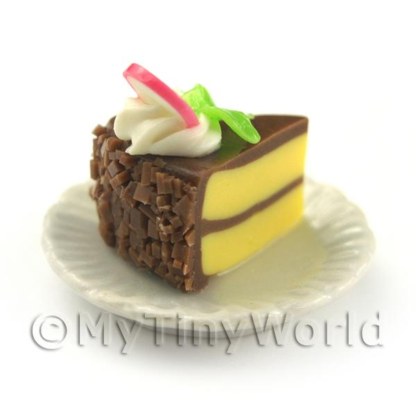 Dolls House Miniature  Chocolate Iced Individual Dragon Fruit Cake Slice