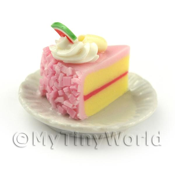 Miniature Pink Iced Individual Melon and Chocolate Swirl Cake Slice