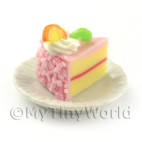 Dolls House Miniature Pink Iced Individual Kiwi and Orange Cake Slice