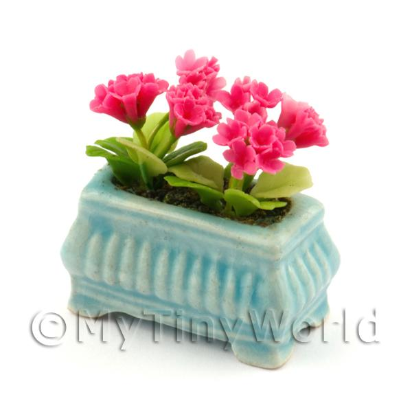 Dolls House Miniature  | Pink Dolls House Miniature Geraniums in a Blue Flower Box