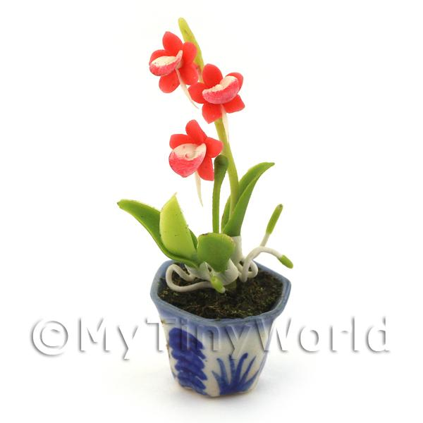 Dolls House Miniature Red Dendrobium Orchid