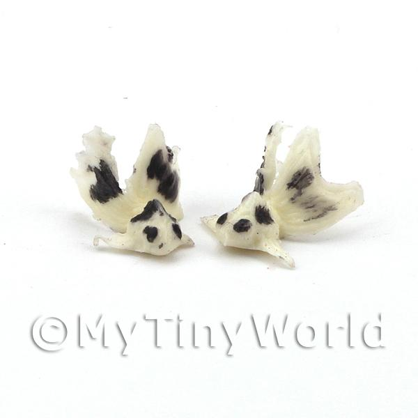 Two Small Dolls House Miniature White Chinese Goldfish with Black Spots